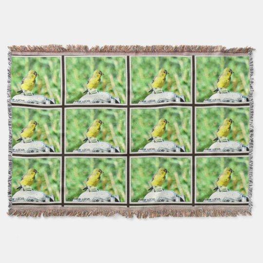 Little Yellow Bird on Bird Fountain Throw Blanket