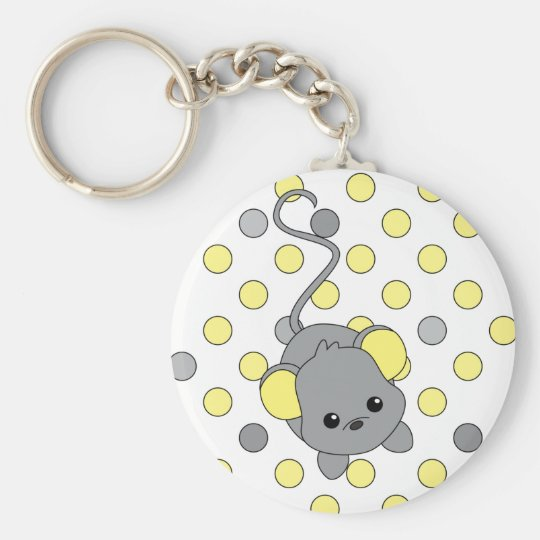 Little Yellow Ears Basic Round Button Key Ring