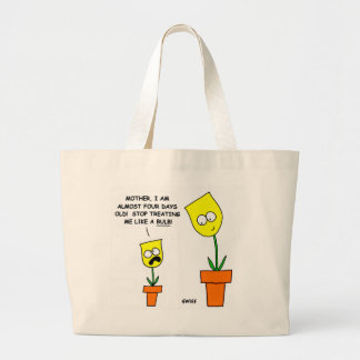 Little Yellow Tulip and Mom Cartoon Cotton Tote