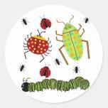Littlebeane Bugs Insects  Ladybug Ant Caterpillar Round Sticker