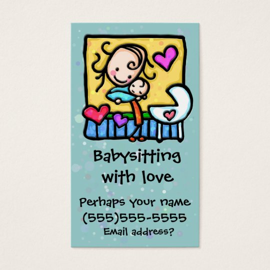 LIttleGirlie Babysitter Child Care Custom card