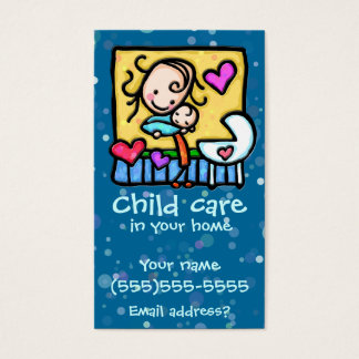 LIttleGirlie Babysitter Child Care Custom card BLU