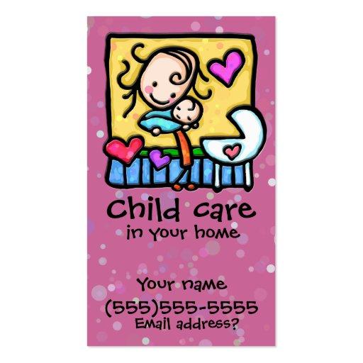 LIttleGirlie Babysitter Child Care Custom card PNK Business Card Templates