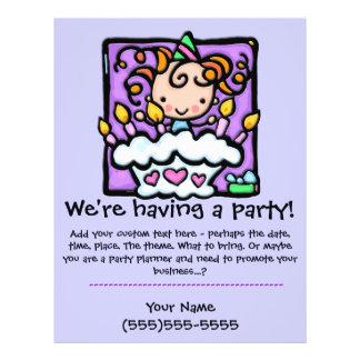 LITTLEGIRLIE Birthday Party Custom announcement Personalized Flyer