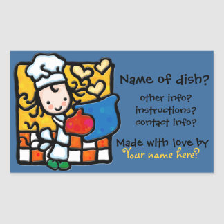 LittleGirlie cooks with love! Food label sticker