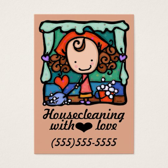LittleGirlie housecleaning promotional card_peach Business Card