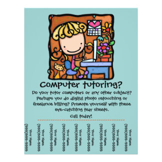LittleGirlie is a computer tutor! Customize it 21.5 Cm X 28 Cm Flyer