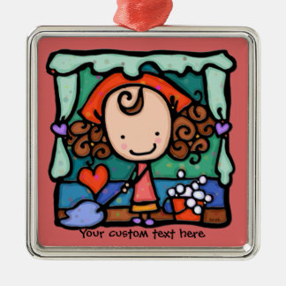 LittleGirlie is a little clean freak! ROSE Silver-Colored Square Decoration