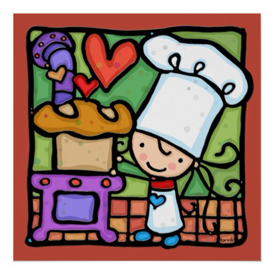 LittleGirlie just loves to bake bread DK RUST Poster