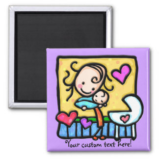 LittleGirlie loves her baby! Square Magnet