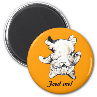 """LittlePixyBoots - """"Feed Me"""" Cat orange 6 Cm Round Magnet"""