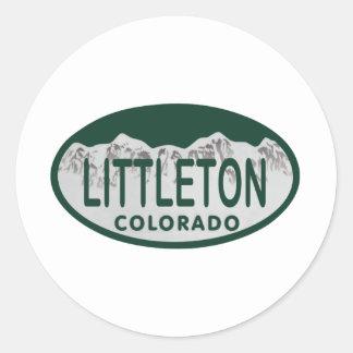 Littleton license oval classic round sticker