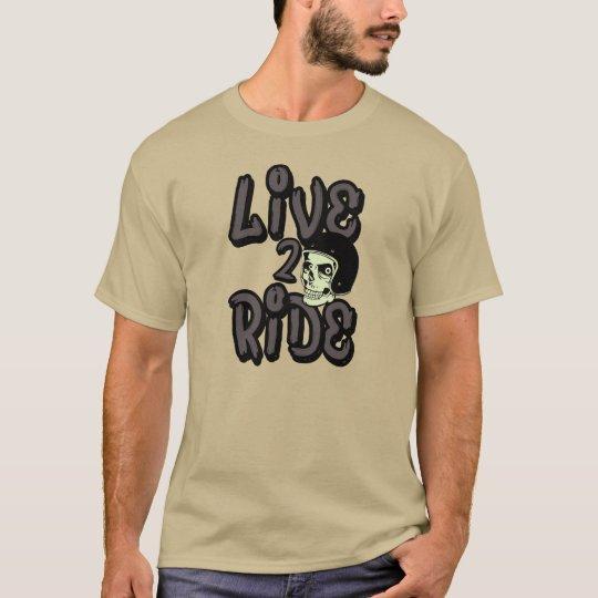Live 2 Ride Skull Motorcycle Helmet T-shirt