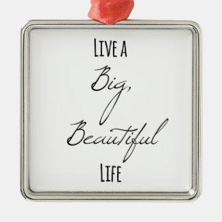 Live a Big, Beautiful Life Silver-Colored Square Decoration