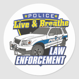 Live and Breathe Law Enforcement Round Stickers
