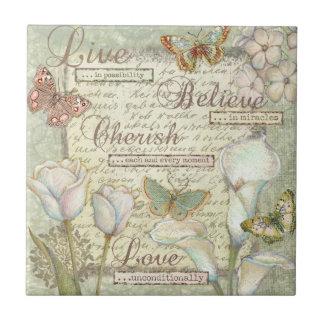 Live Believe Cherish Small Square Tile