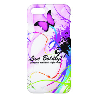 Live Boldly Pink Butterfly Inspirational Custom iPhone 8/7 Case