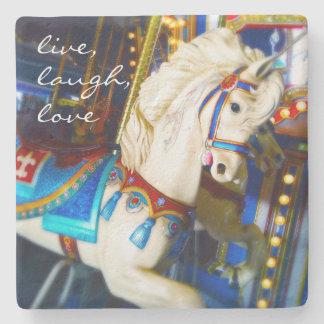 """Live"" colorful carousel horse photo stone coaster"