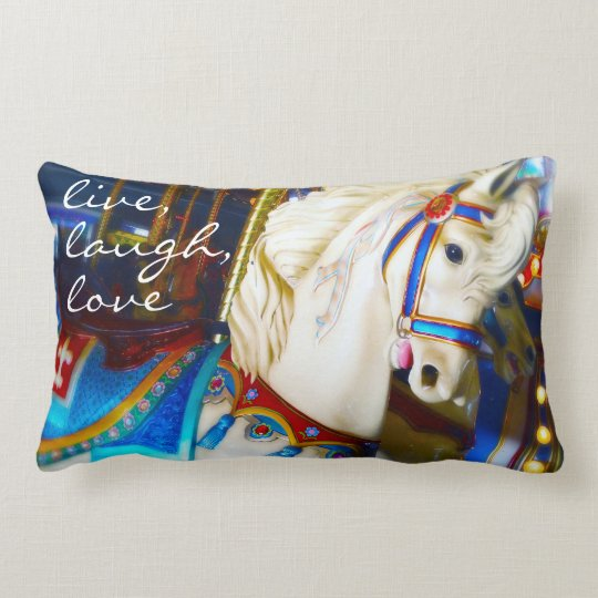 """Live"" colourful carousel horse photo lumbar Lumbar Pillow"