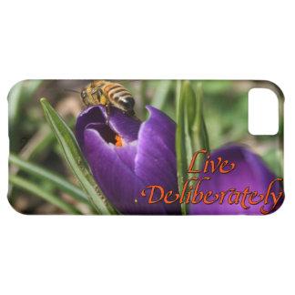 Live Deliberately w/honey bee pollinating Crocus iPhone 5C Case