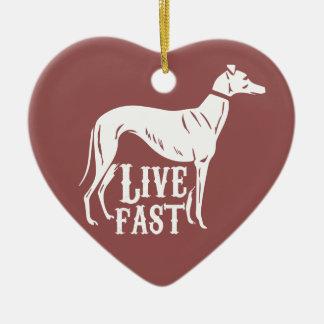 Live Fast Ceramic Heart Decoration