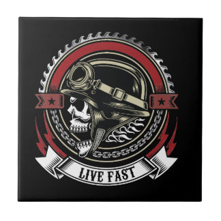 Live Fast Small Square Tile