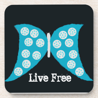 """Live Free Butterfly"" Cork Coaster"