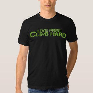 Live Free Climb Hard - Green Adjective Tee Shirts