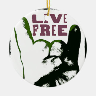 Live Free Pop Art design Christmas Ornament