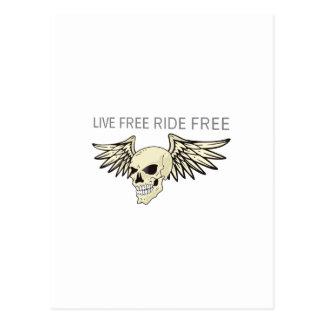 LIVE FREE RIDE FREE POSTCARD