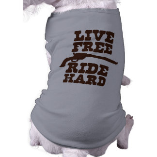 LIVE FREE RIDE HARD cowboy rodeo motto Sleeveless Dog Shirt