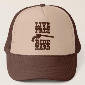 LIVE FREE RIDE HARD cowboy rodeo motto Trucker Hat