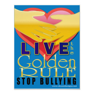 live golden rule stop bullying 11 cm x 14 cm invitation card