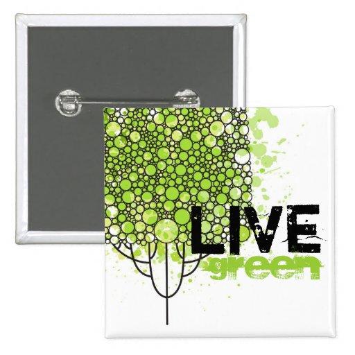 Live Green 15 Cm Square Badge