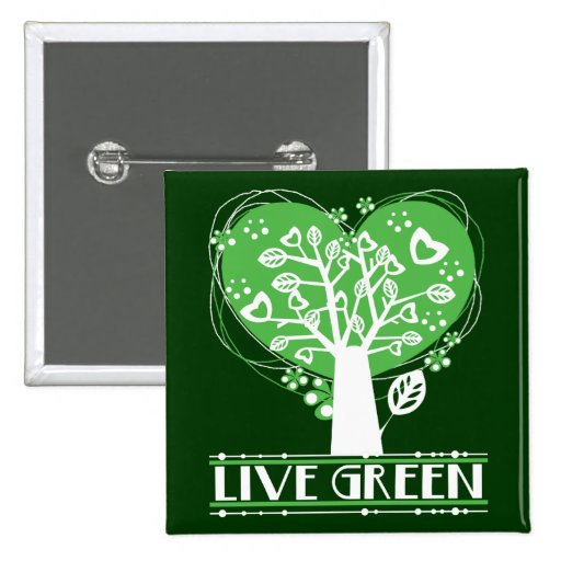 Live Green Abstract Tree Pinback Buttons
