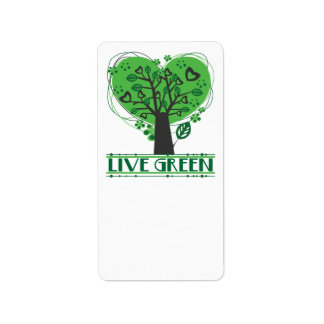 Live Green Abstract Tree Label Address Label