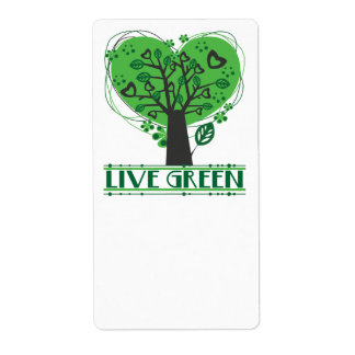 Live Green Abstract Tree Label Shipping Label