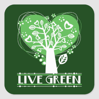 Live Green Abstract Tree Stickers