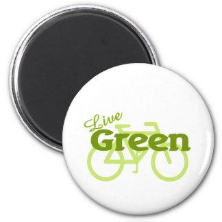 live green bike 6 cm round magnet