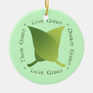 Live Green Dream Green Love Green Think Green Round Ceramic Decoration