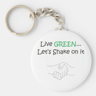 Live Green Basic Round Button Key Ring