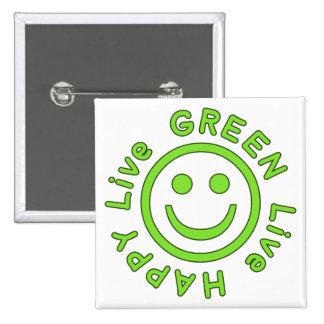 Live Green Live Happy Pro Environment Eco Friendly Pinback Button