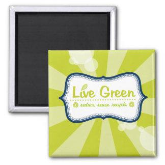 Live Green Square Magnet