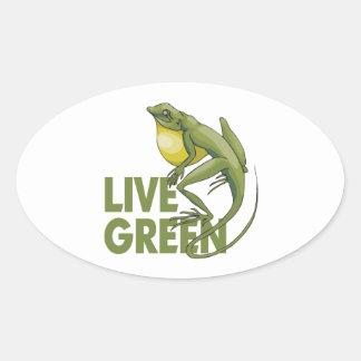 Live Green Oval Sticker