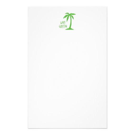 Live Green Palm Tree Custom Stationery