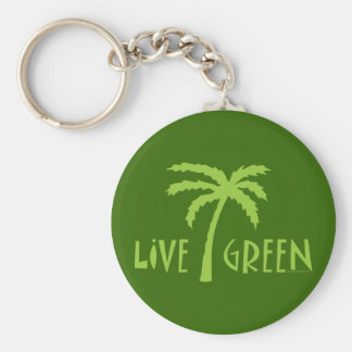 Live Green Palm Tree Environmental Key Ring