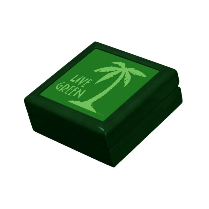 Live Green Palm Tree Small Square Gift Box