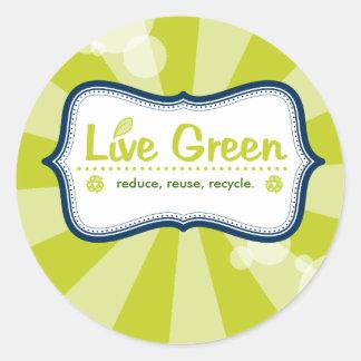 Live Green Round Sticker