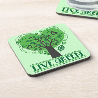 Live Green Tree of Hearts Beverage Coasters