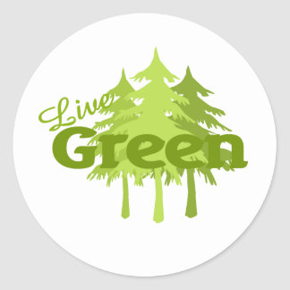 live green trees classic round sticker